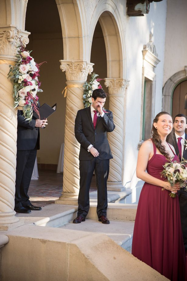 Outdoor burgundy wedding ceremony decor- Cat Pennenga Photography