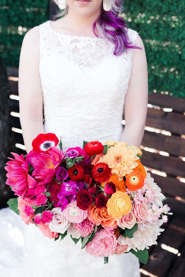Colorful Rainbow Ombré Inspired Wedding Bouquet - Swish + Click Photography