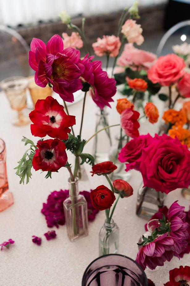 Rainbow Ombré Inspired Wedding Centerpiece- Swish + Click Photography
