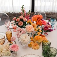 Colorful Rainbow Ombré Inspired Wedding Centerpiece