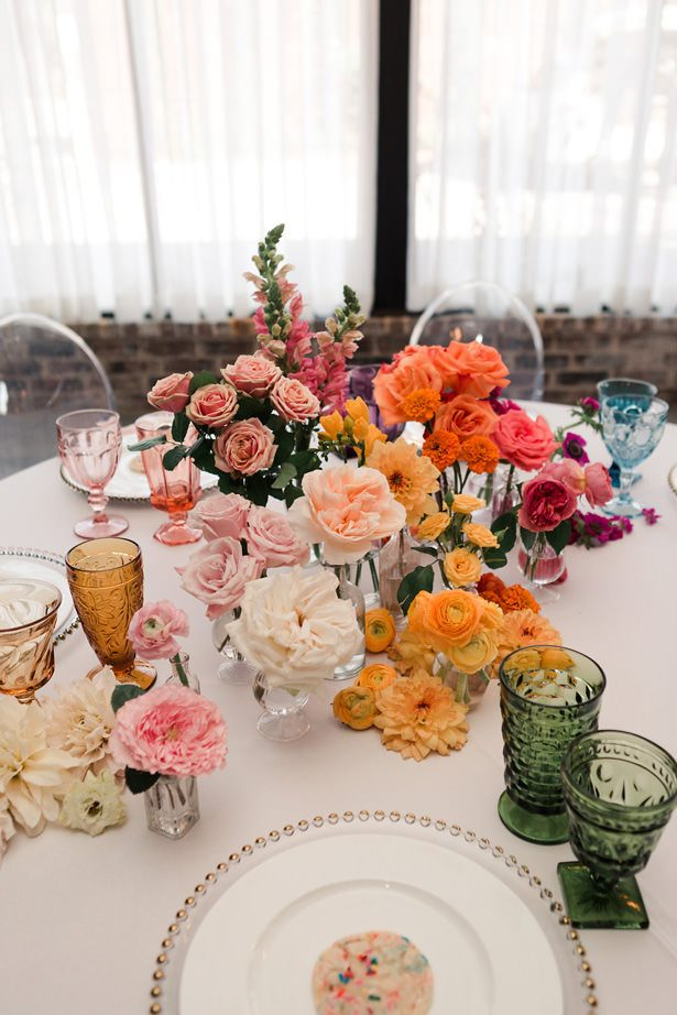Colorful Rainbow Ombré Inspired Wedding Centerpiece- Swish + Click Photography