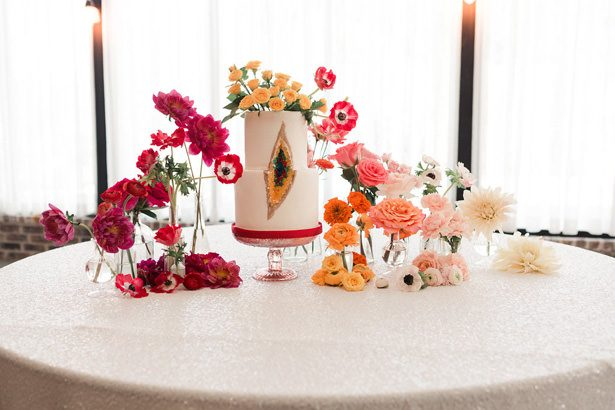 Rainbow Ombré Inspired Wedding cake table