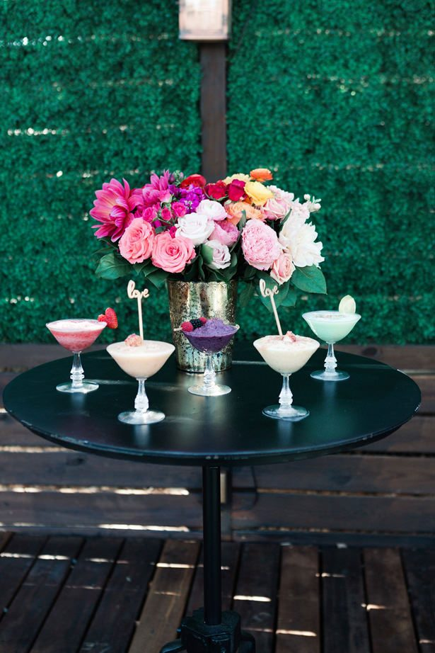 Rainbow Ombré Inspired Wedding tablescape and cocktails- Swish + Click Photography