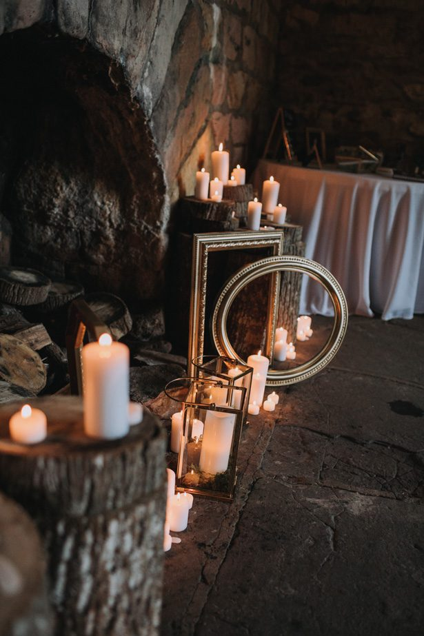 Rustic bohemian wedding decor with frames and candles - Kendra Harper Photography