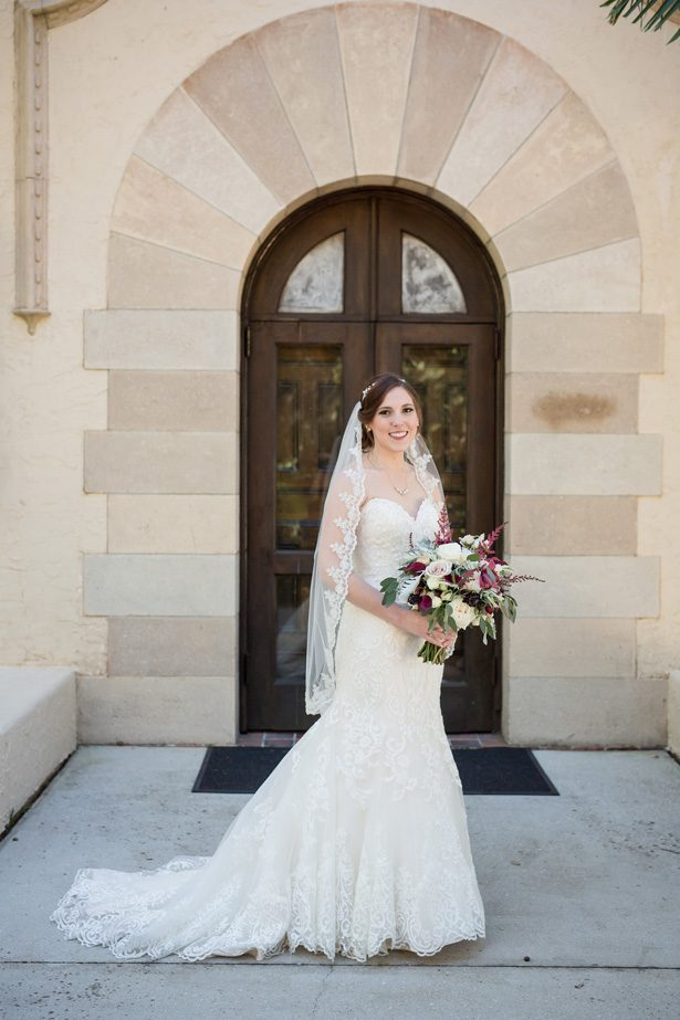 Sophisticated bride with lace strapless mermaid wedding dress- Cat Pennenga Photography