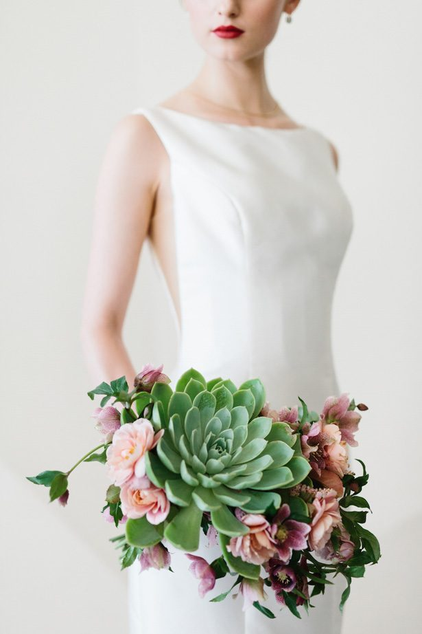 Succulent and pink flowers modern wedding bouquet - Photography: Kate Osborne