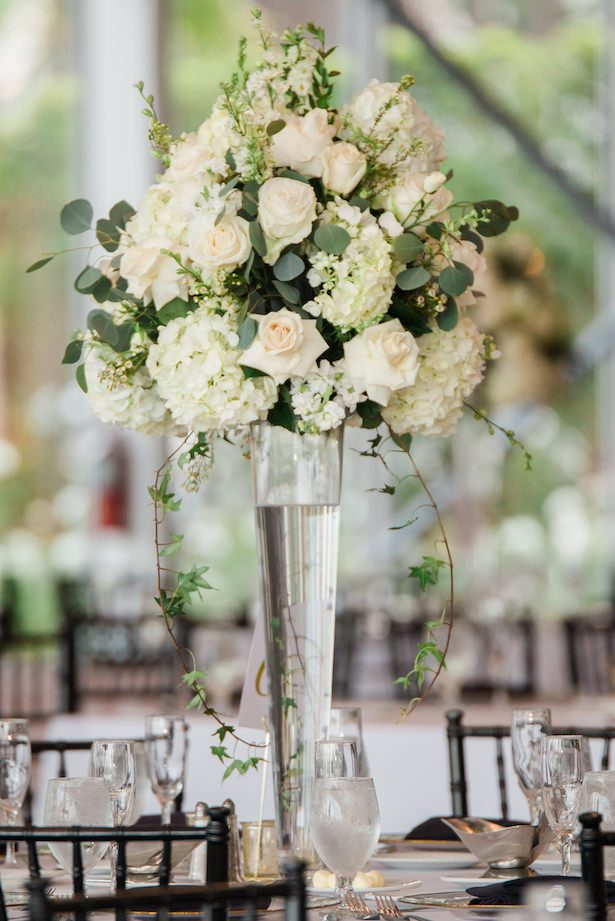 Tall white wedding centerpiece - Nichanh Nicole Photos