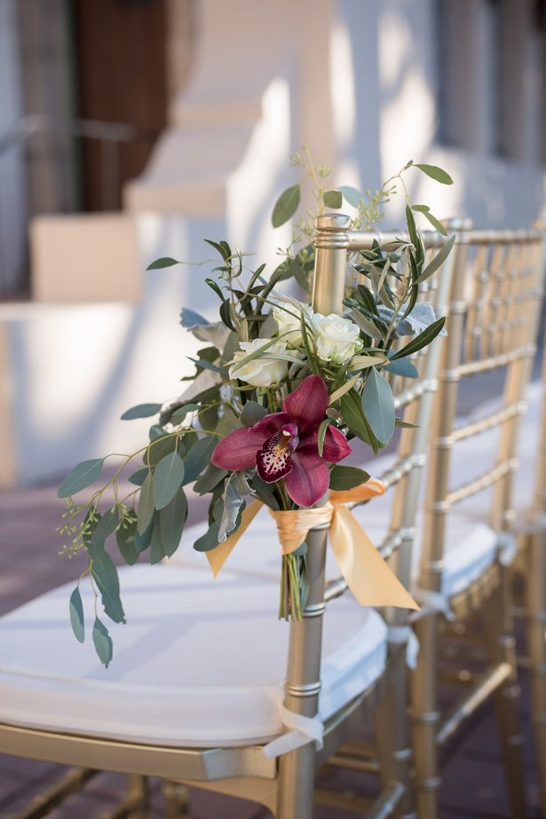 Wedding ceremony flowers for chair decor- Cat Pennenga Photography