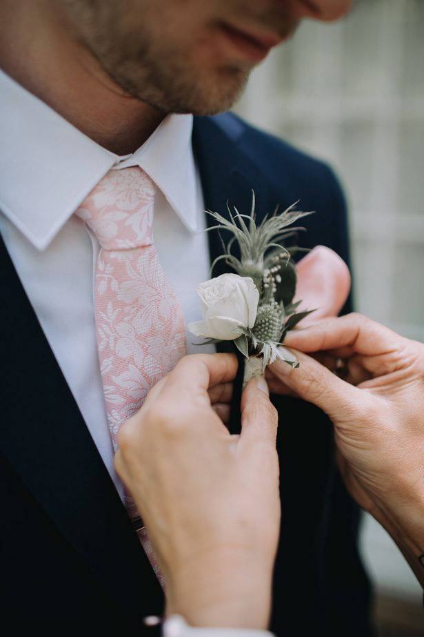 Wedding suit and boutonniere for groom - Kendra Harper Photography