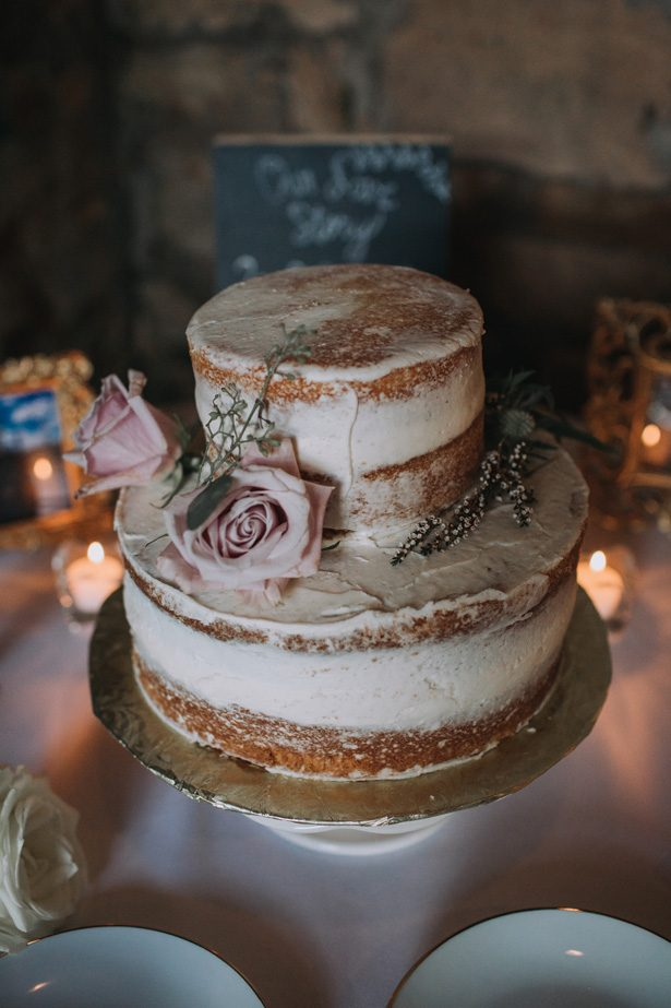 White Naked wedding cake with natural flowers pink roses - Kendra Harper Photography