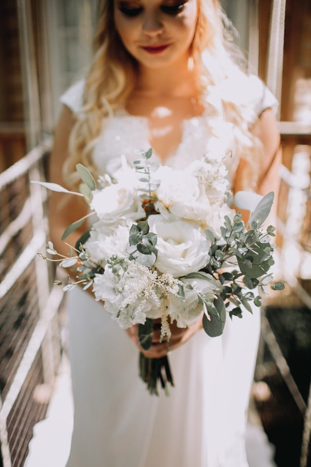 White and greenery wild wedding bouquet - Kendra Harper Photography
