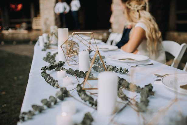 White greenery and gold tablescape - Kendra Harper Photography