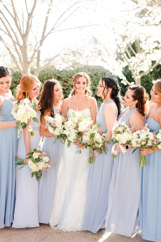 dusty blue bridesmaid dresses - Bethanne Arthur Photography