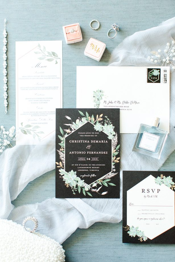 dusty blue wedding invitations - Bethanne Arthur Photography