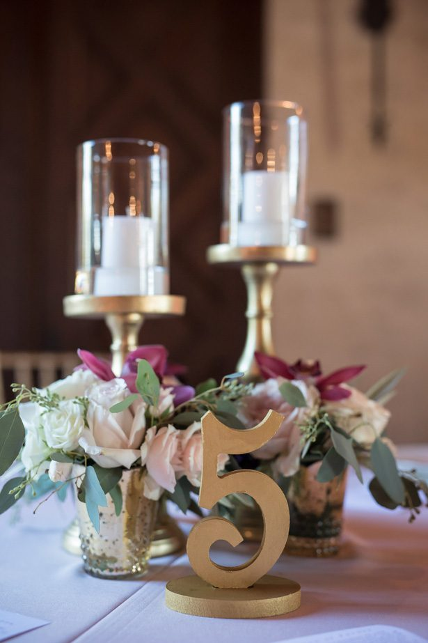 gold wedding table number- Cat Pennenga Photography