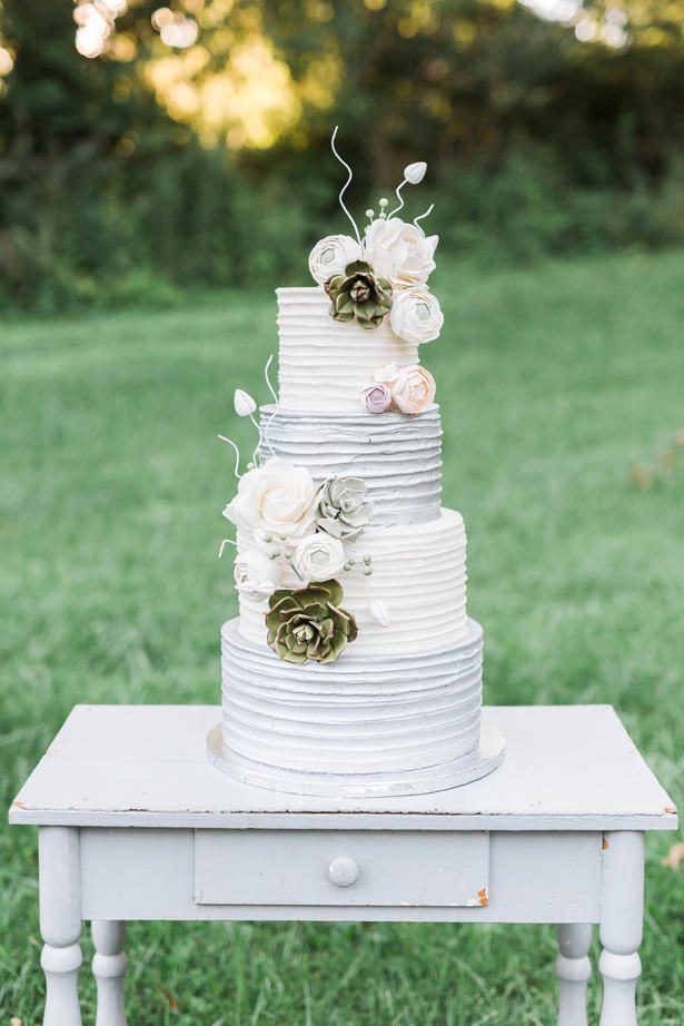 gorgeous white and gray wedding cake - Sarah Sunstrom Photography