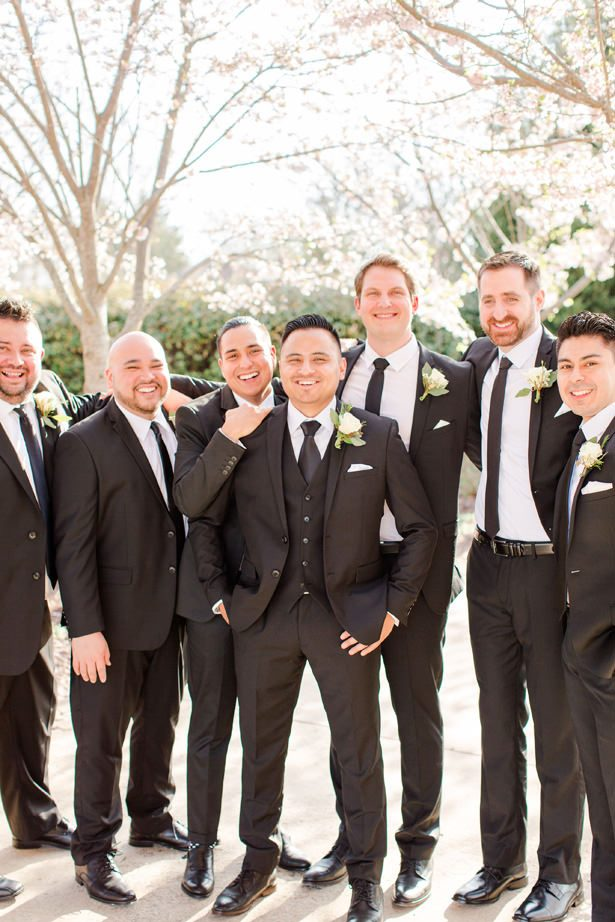groomsmen matching black suit and tie - Bethanne Arthur Photography