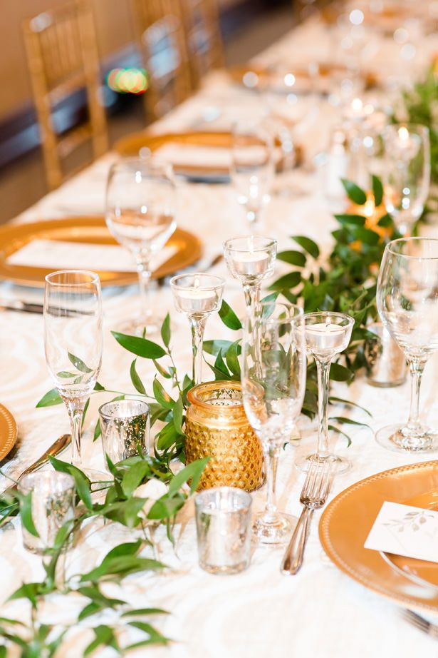 long wedding table gold decor - Bethanne Arthur Photography