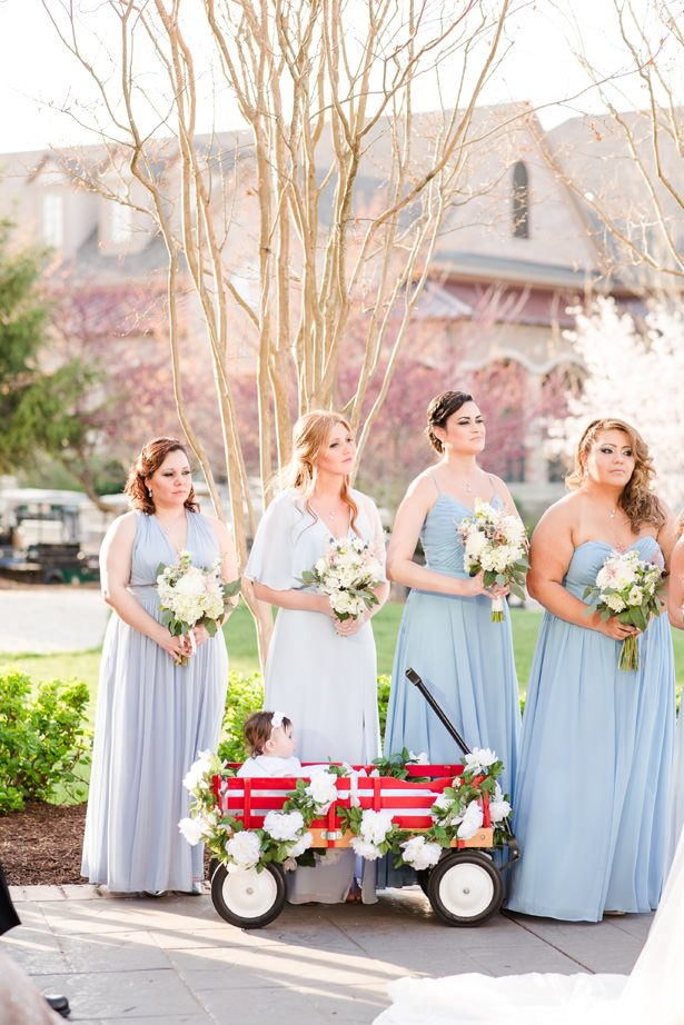 mis matched dusty blue bridesmaid dresses - Bethanne Arthur Photography