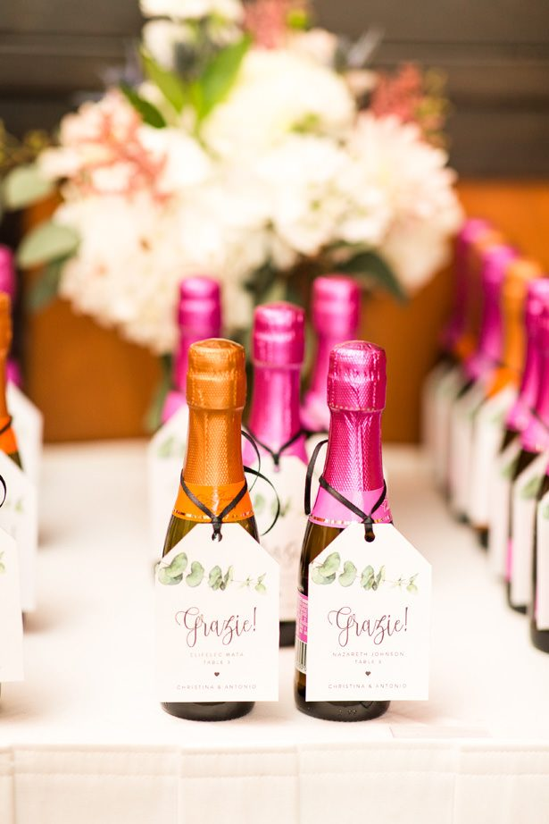 wedding champagne favors - Bethanne Arthur Photography