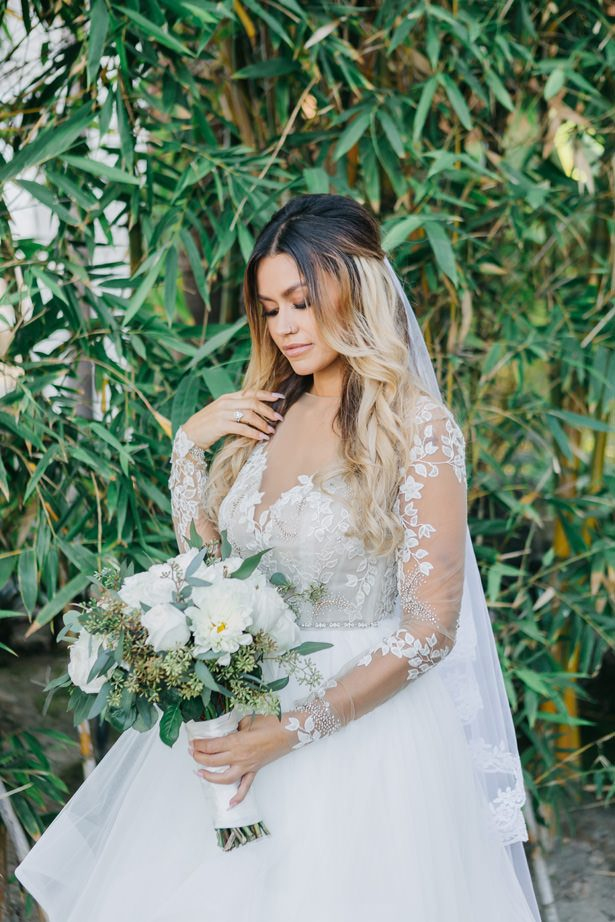 wedding dress with lace sleeves -Nichanh Nicole Photos