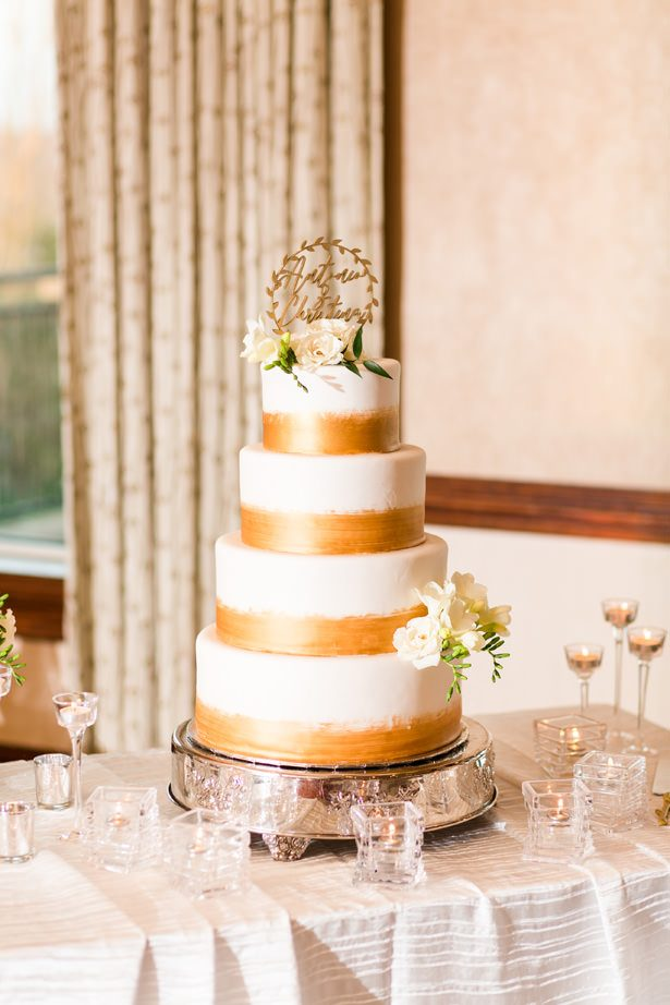 white and gold wedding cake - Bethanne Arthur Photography