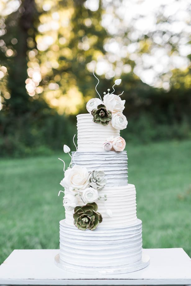 white and gray wedding cake - Sarah Sunstrom Photography