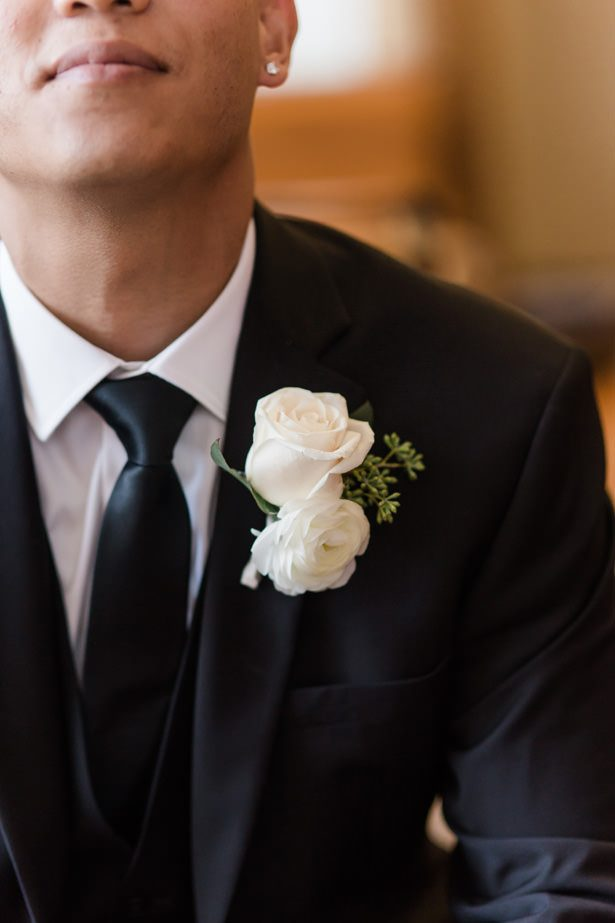 white rose boutonniere - Nichanh Nicole Photos
