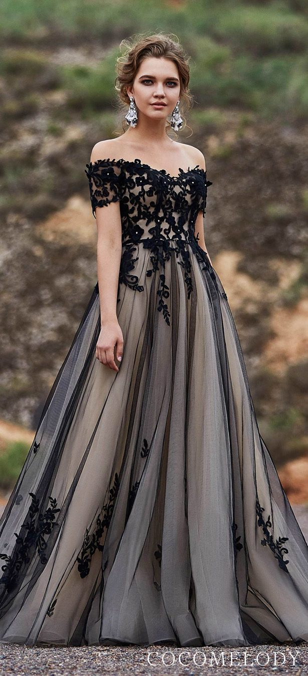Black & Champagne colored wedding dress by CocoMelody