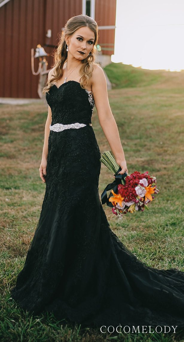 Black colored wedding dress by CocoMelody