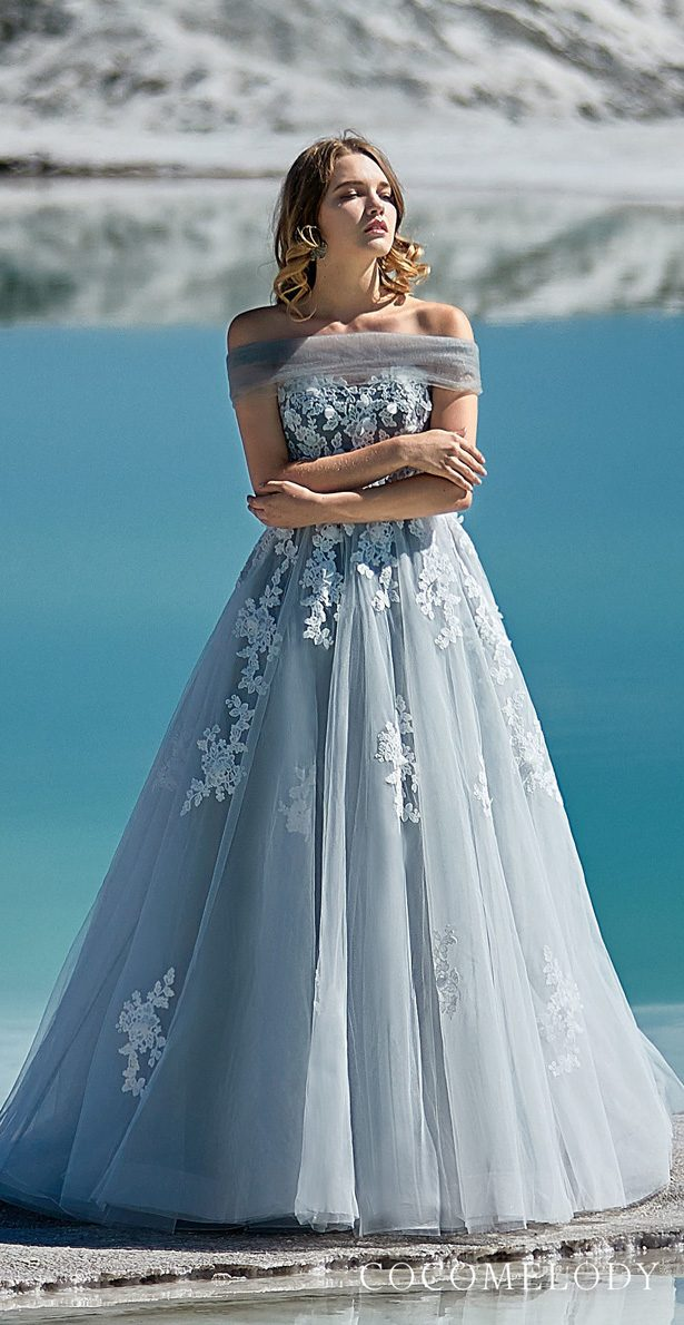 Blue colored wedding dress by CocoMelody
