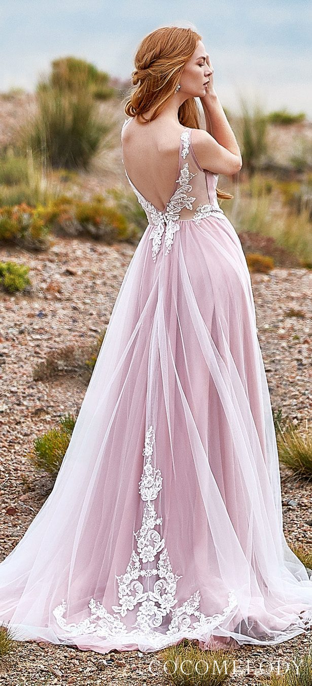 Blush colored wedding dress by CocoMelody