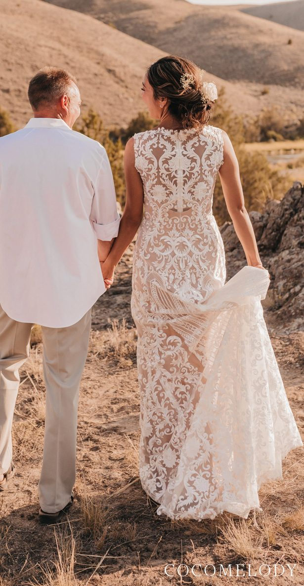Champagne colored wedding dress by CocoMelody - Photographer:Abby Fowles Photography