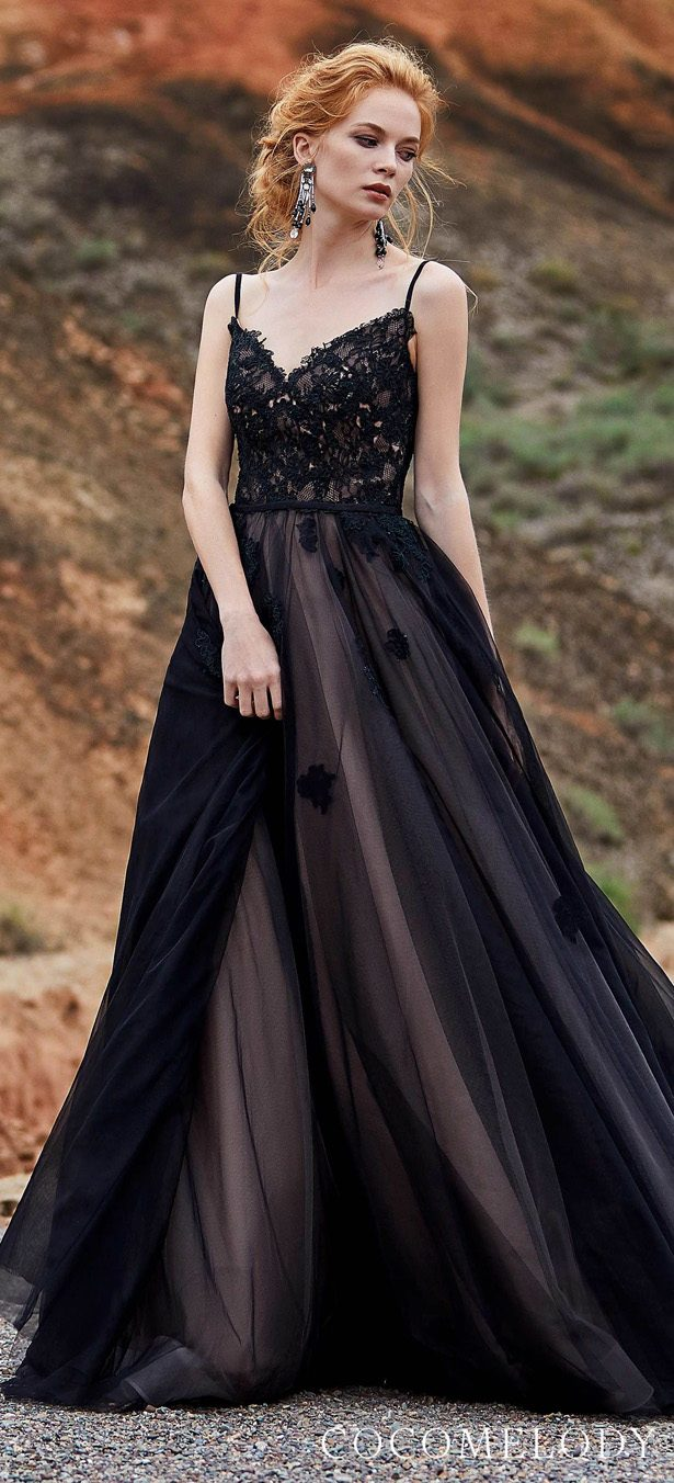 black & veiled rose colored wedding dress by CocoMelody