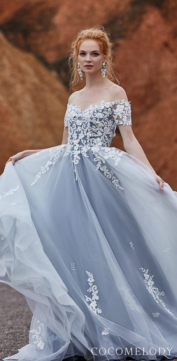 ivory & silver grey Colored wedding dress by CocoMelody