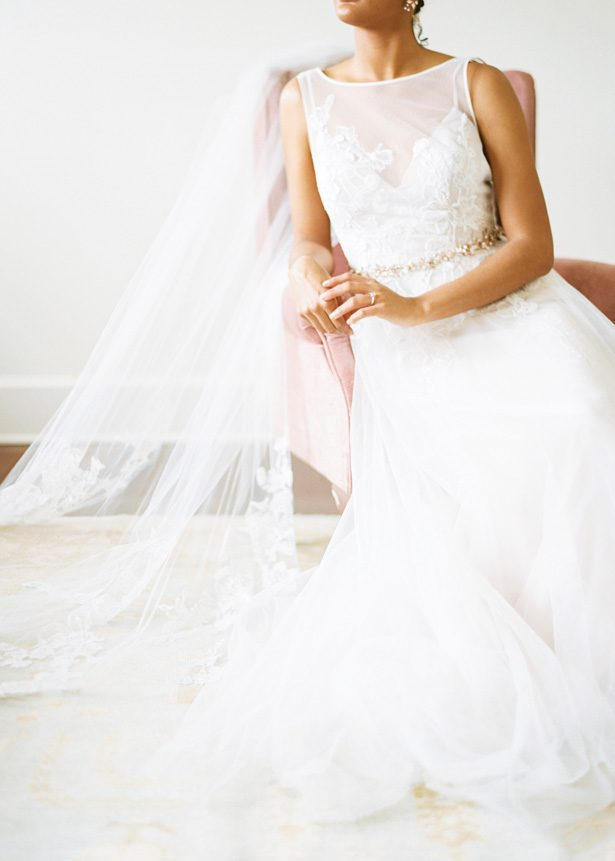 Ball gown wedding dress and veil by David's Bridal - Photography: The Mallorys