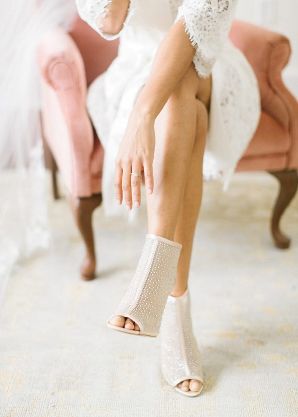 Crystal-Detailed Mesh Peep-Toe Bridal booties - Photography: The Mallorys