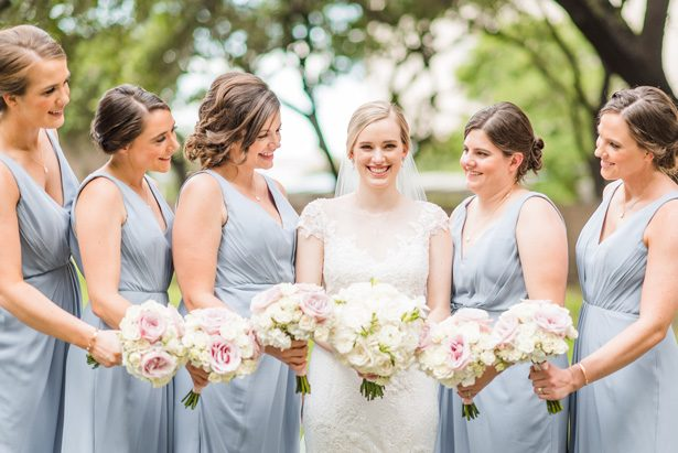 Bridal party photo -Classic Blush Wedding at The Houston Club - Nate Messarra Photography