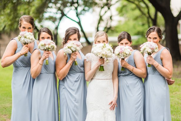 Bridesmaids picture idea - Classic Blush Wedding at The Houston Club - Nate Messarra Photography