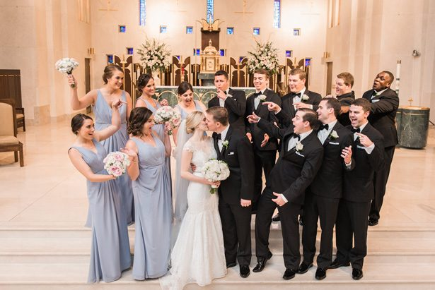 Fun Wedding party photo - Classic Blush Wedding at The Houston Club - Nate Messarra Photography