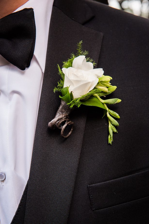 Grooms boutonniere - Classic Blush Wedding at The Houston Club - Nate Messarra Photography