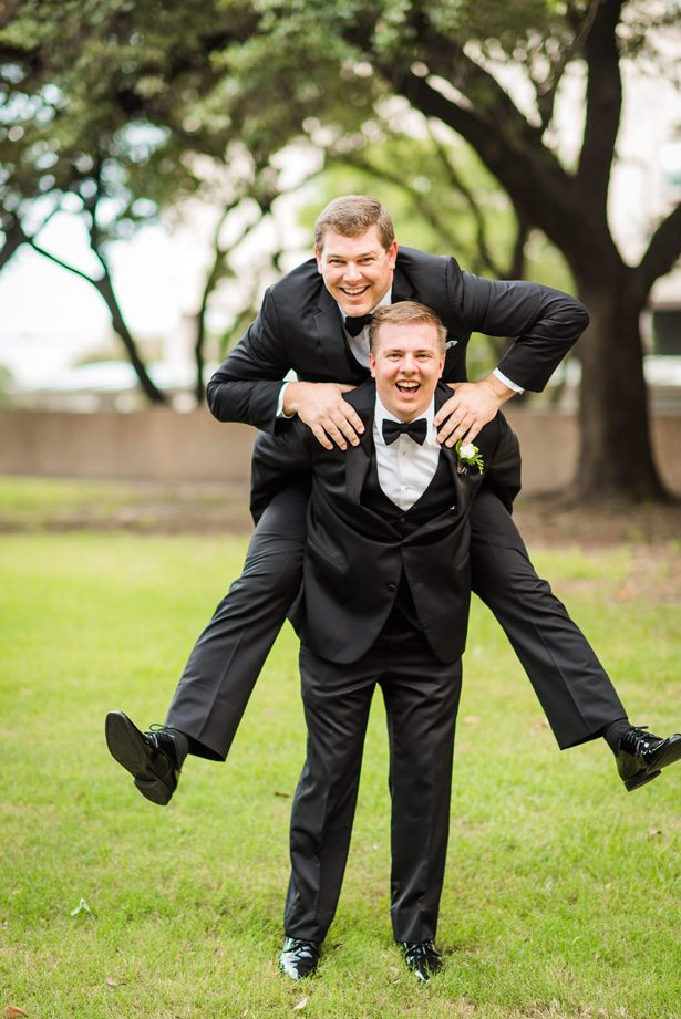Groomsmen fun photo - Classic Blush Wedding at The Houston Club - Nate Messarra Photography