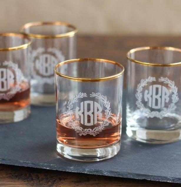 Groomsmen gifts - Personalized Gold Rimmed Double Old Fashioned Set