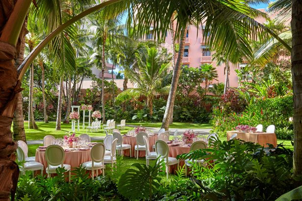 Hawaii Destination Wedding and Honeymoon - Royal Hawaiian Luxury Collection Resort Wedding Pretty in Pink Garden Reception