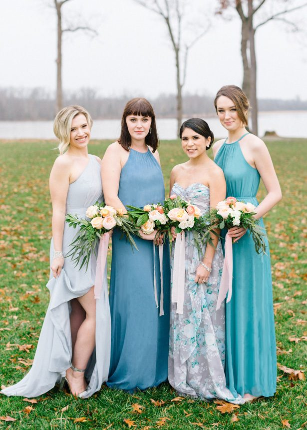 Long Blue Mismatched Bridesmaid Dresses - Photography: The Mallorys