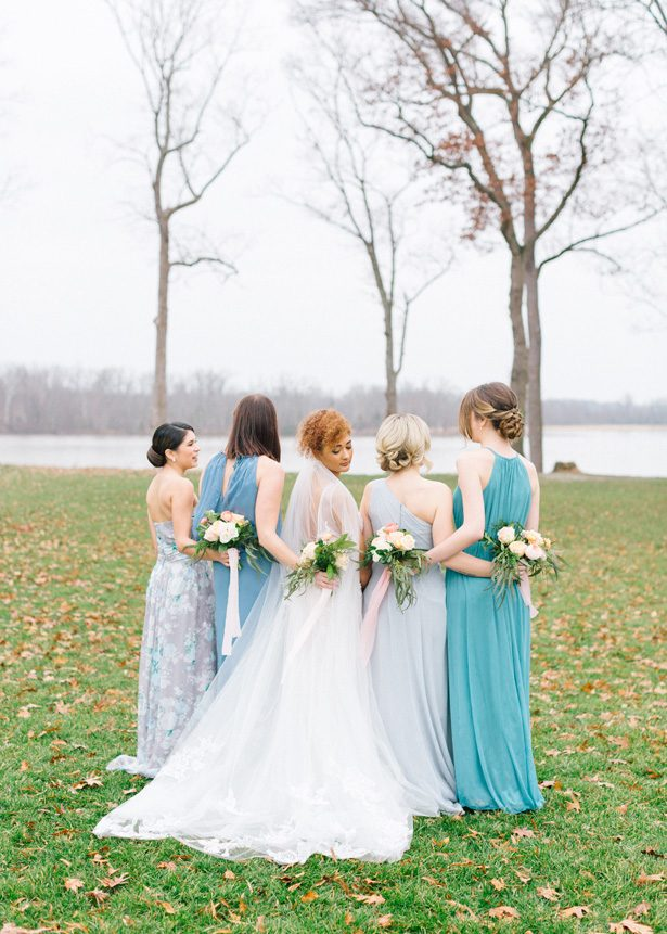 Long Blue Mismatched Bridesmaid Dresses by David's Bridal - Photography: The Mallorys