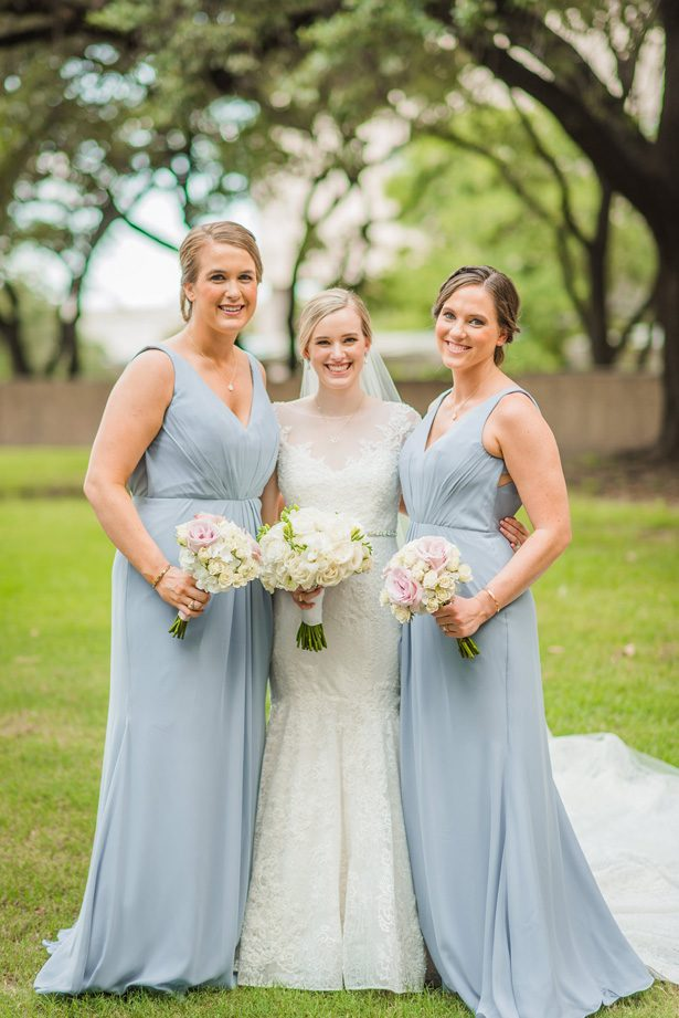 Long grey bridesmaid dresses - Classic Blush Wedding at The Houston Club - Nate Messarra Photography