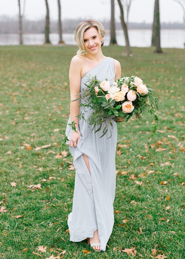 Long light blue bridesmaid dress - Photography: The Mallorys
