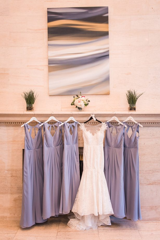 Long purple bridesmaid dresses - Classic Blush Wedding at The Houston Club - Nate Messarra Photography