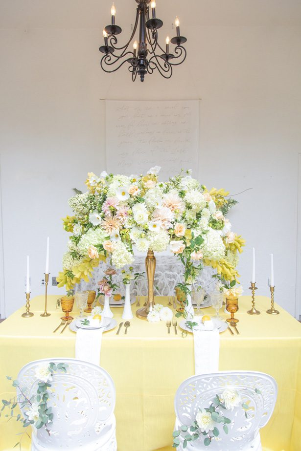 Luxury yellow wedding tablescape - Photography: Szu Designs, Inc